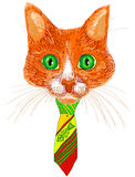 Trendy cat in bright tie. Freehand drawing. Royalty Free Stock Photography