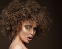 Trendy Charismatic Woman with Frizzy Hairdo Royalty Free Stock Photo