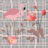 Trendy checkered print with embroidered red roses and flamingo. Seamless hounds tooth pattern with English motifs. stock illustration