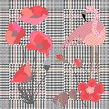 Trendy checkered print with spring poppies and flamingo. Seamless hounds tooth pattern with English motifs. vector illustration