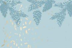 Chic winter pastel gold print pine braches botany design royalty free illustration