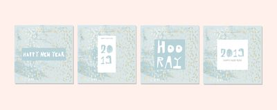 Chic geometric card set stock illustration