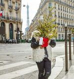 Trendy child in Paris, France hiding behind Christmas tree. Boiling hot trendy winter in Paris. trendy child in Paris, France hiding behind Christmas tree Stock Image