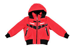 Trendy child red sport jacket. Isolated on white Stock Photography