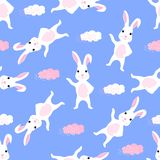 Trendy childish seamless pattern with cute Easter bunny and clouds. Can be used for the decoration of the nursery, children`s. Clothing, kids accessories, gift vector illustration
