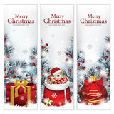 Trendy Christmas Banners. Vector illustration of three elegant Christmas banners, with gift box, Santas sack and Christmas ornament surrounded with trees Royalty Free Stock Photo
