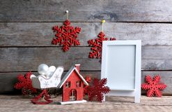 Trendy Christmas decorations and photo frame Royalty Free Stock Photography