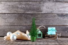 Trendy Christmas decorations. On wooden background Royalty Free Stock Photography