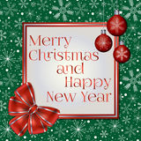 Trendy Christmas and New Year greeting card decorated with red bow, Christmas balls and various snowflakes on green background Stock Images