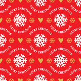Trendy Christmas seamless pattern. Hand-drawn white, gold snowflakes, red background Stock Photography