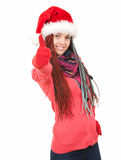 Trendy christmas woman with thumb up Royalty Free Stock Photos