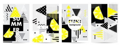 Trendy citrus pattern covers set. Vector illustration Royalty Free Stock Photography