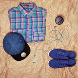 Trendy clothes and accessories on old paper Royalty Free Stock Image