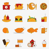Trendy color flat food products icon set. European lunch. Vector illustration. Design elements dishes collection. artoon Royalty Free Stock Photography