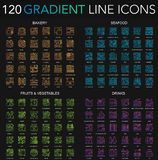 120 trendy color gradient complex thin line icons set of Bakery, Seafood, Fruits Vegetables, Drinks isolated on black. Background royalty free illustration