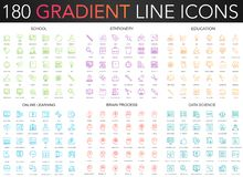 180 trendy color gradient style thin line icons set of school, stationery, education, online learning, brain process. Data science royalty free illustration