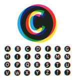 Trendy Colorful Alphabet Set - Illustration Royalty Free Stock Image