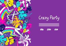 Trendy colorful background crazy party. Abstract modern color elements in graffiti style Royalty Free Stock Images