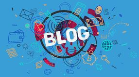 Blog colorful theme. Trendy colorful graphic composition with stylized icons and word Blog, High resolution 3D render Royalty Free Stock Photos