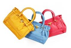 Trendy colorful handbags royalty free stock photo