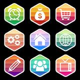 Trendy colorful icon seton black. Vector design Royalty Free Stock Photo