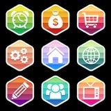 Trendy colorful icon seton black. Vector design Royalty Free Stock Photo
