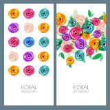 Trendy colorful illustration of roses flowers. Royalty Free Stock Photos