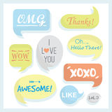 Trendy and colorful speech bubbles set with some words Royalty Free Stock Photography