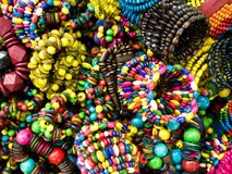 Trendy colorful wooden bracelets Stock Photography
