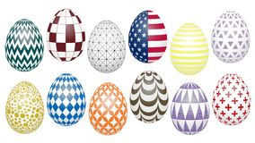 Trendy colors on Easter eggs stock illustration