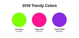 2019 trendy colors illustation - ufo green, proton purple, plastic pink. Vector circles with bright popular 2019 color samples for royalty free illustration