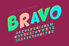 Trendy comical font design, colorful alphabet Royalty Free Stock Photo