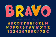 Trendy comical font design, colorful alphabet Stock Photos