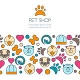 Vector seamless horizontal background with flat icons of cat, bird, snake and dog. Banner or flyer design template with copyspace. Stock Photo