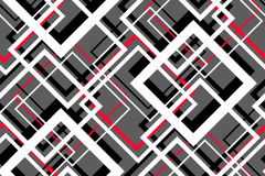 Trendy Contrast Geometric Seamless Pattern. Vector line design fashion textile, fabric print, website template. Abstract background of white, red, black Stock Photography