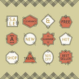 Trendy coral red and white line sale emblems set on beige background Royalty Free Stock Photos