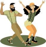 Trendy couple dancing vector illustration