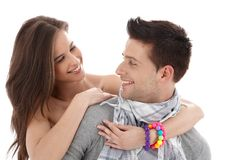Trendy couple in love Stock Image
