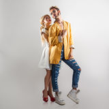Trendy couple in love. Both with professional makeup. Royalty Free Stock Images