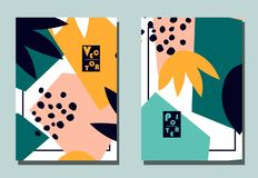 Trendy cover with graphic abstract shapes and floral leaves. Two modern vector flyers in avant-garde collage style. Geometric wallpaper for business brochure vector illustration