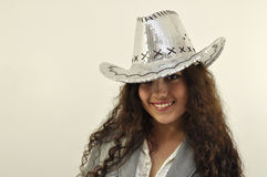 Trendy cowgirl Stock Photography