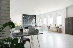 Trendy coworking space. Black and white, trendy coworking space in industrial style Stock Images