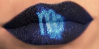 Trendy Creative lip makeup. Closeup Shiny glossy lips Virgo. Trendy Creative lip makeup. Closeup Shiny glossy lips with Virgo Zodiac Sign. Women Horoscope royalty free stock photography