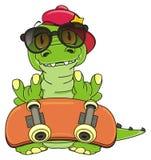 Trendy crocodile with skateboard Royalty Free Stock Photos