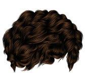 Trendy curly hairs dark brown brunette. medium length . beauty s Stock Photos