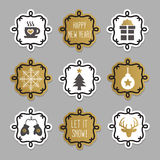 Trendy and cute Christmas and winter tags and stickers set Stock Images