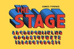 Trendy 3d comical font design, colorful alphabet, typeface. Color swatches control stock illustration