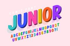 Trendy 3d comical font design, colorful alphabet, typeface. Color swatches control royalty free illustration