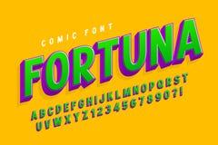 Trendy 3d comical font design, colorful alphabet, typeface. Color swatches control vector illustration