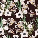 Trendy dark brown vintage Floral pattern with the many kind of flowers. Botanical Motifs scattered random. White lilies and anemones seamless pattern vector illustration